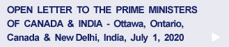 Open Letter to Prime Ministers of Canada & India